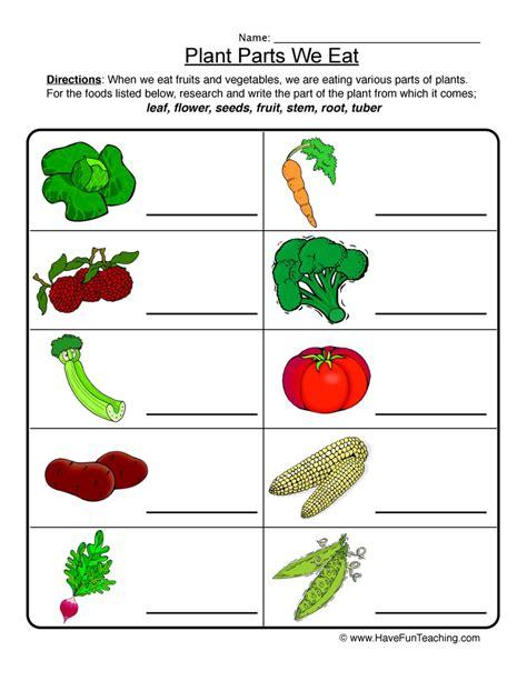 Plant Parts Worksheet by Plant Parts We Eat Worksheet