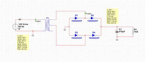 diode bridge in multisim bridge rectifier power consumption discussion forums