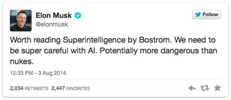 elon musk tweet elon musk ai could be more dangerous than nukes