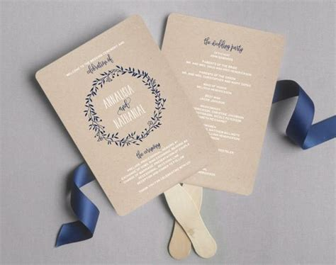 wedding program fan wedding program printable navy