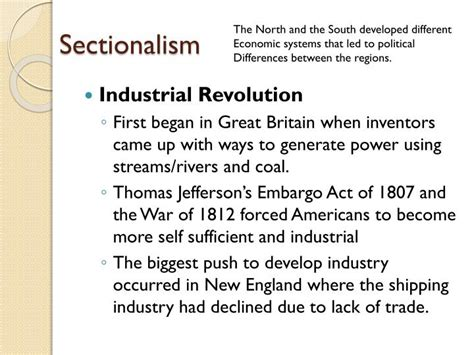 sectionalism in the 1800s ppt nationalism and sectionalism during the age of