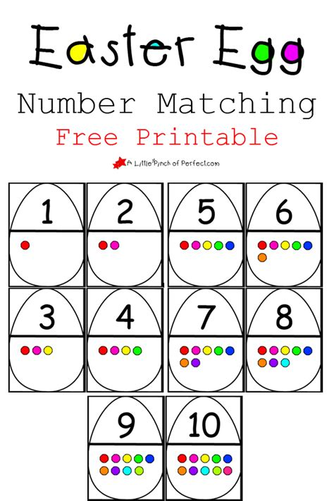 printable number matching cards easter egg number matching free printable