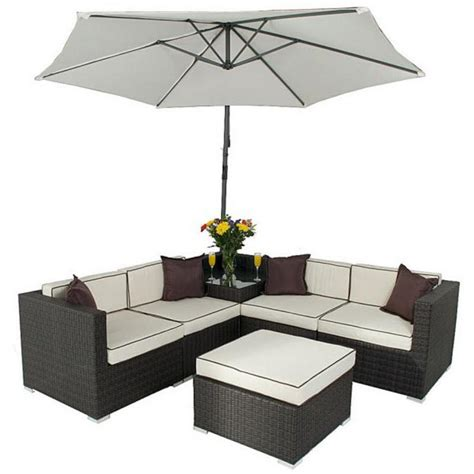 rattan sofa sets garden furniture seville corner sofa set with parasol rattan wicker garden