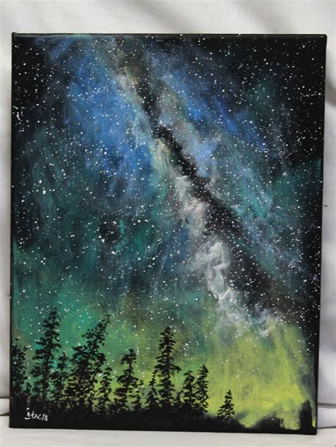 acrylic painting sky way painting on canvas 11 quot x 14 quot stretched canvas