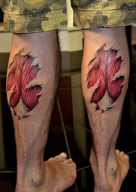 muscle tattoo freehand calf skin tear http 16tattoo