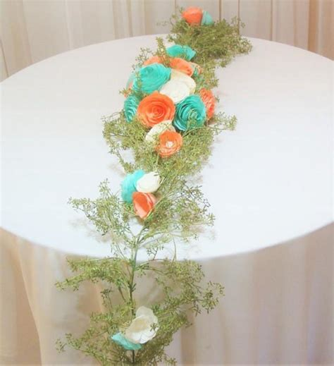 Paper Flowers Floral Garland Decor Home Wall Decor Table Runner Paper Flower Arch Coral Floral Arch Floral Valance Floral Garland Artificial