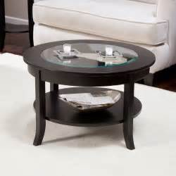 Wood and glass round coffee table is a perfect combination of high