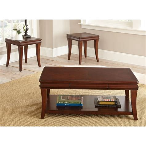 Steve Silver Coffee Table Sets Steve Silver 3 Coffee Table Set In Cherry Au1000