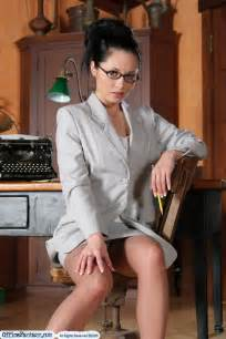sexy secretaries in stockings pantyhose and high heels only at office