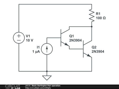 darlington transistor circuit analysis basic darlington pair operation circuitlab