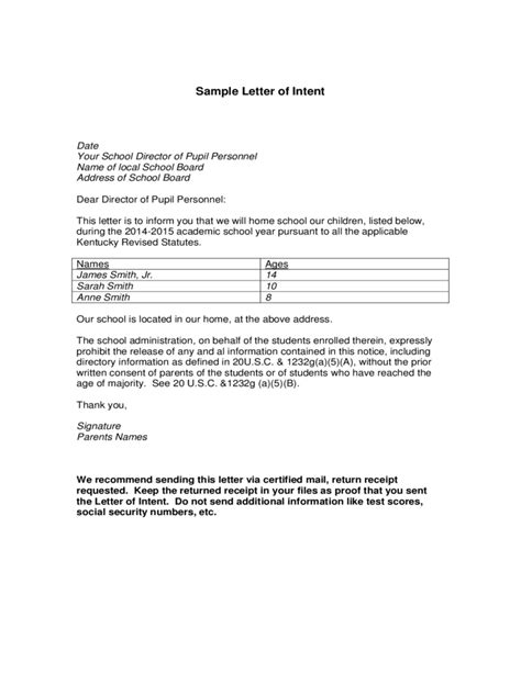 Letter Of Intent Kentucky Election Sle Letter Of Intent Template Free
