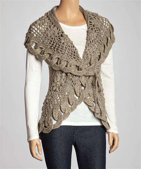 Wool Blend Knit Vest oatmeal link knit wool blend sweater vest crochet