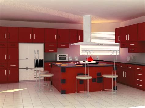 kitchen interior design with red cabinets neo classical colour modular kitchen design modern dining table chair