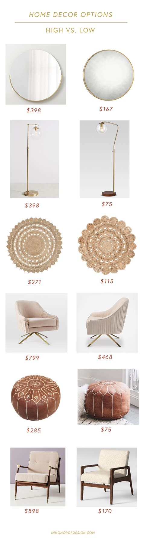 home decor for less high vs low home decor looks for less in honor of design