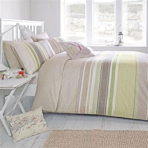 Green Bedding And Curtains Green Striped Duvet Cover Set Dreams Drapes Quot Falmouth Quot Bedding