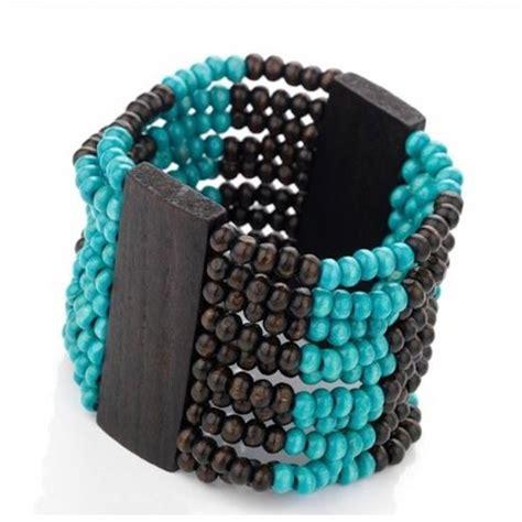 Turquoise Lava L by Turquoise Colour Wood Look Elastic Bracelet Set 23742