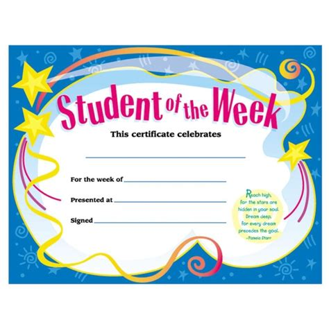 student of the week template trend student of the week certificate quickship