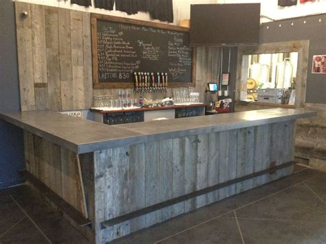Pallet Kitchen Island Hand Crafted Reclaimed Wood Tasting Room Wall Cladding
