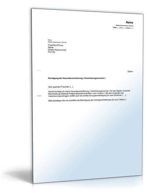 Muster Kündigung Berlin Direkt Versicherung K 252 Ndigung Hausratsversicherung Muster Zum