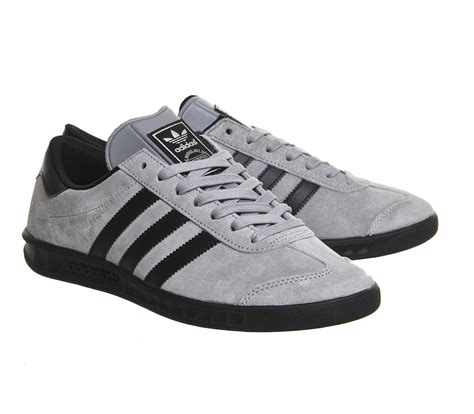 lyst adidas originals hamburg suede and leather low top sneakers in gray for