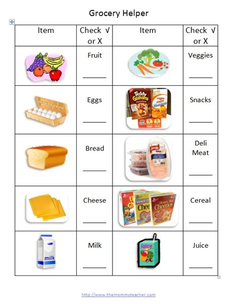 printable grocery list for toddlers printable grocery shopping list template