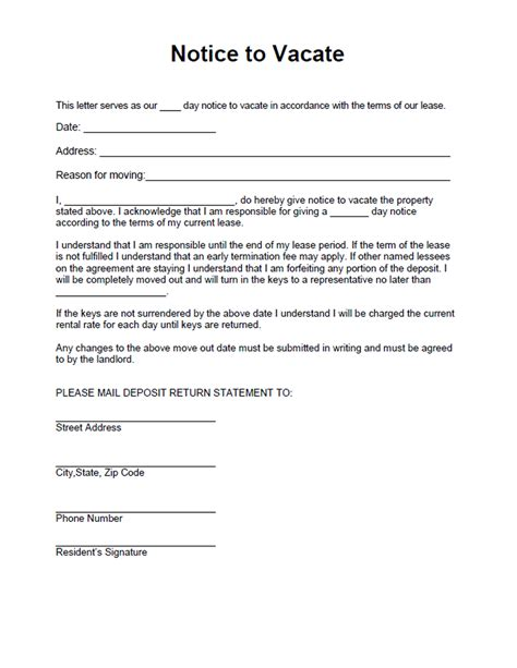 Rent Vacating Letter Notice To Vacate Form Free Form For A Residential Landlord Notice