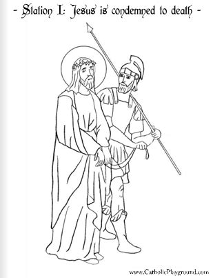 stations of the cross coloring pages coloring page for the first station of the cross jesus is