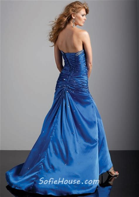 Royal sheath strapless long purple silk prom dress with