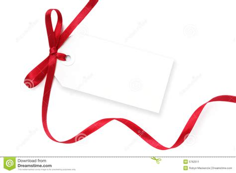 blank tag with red ribbon stock image image of background