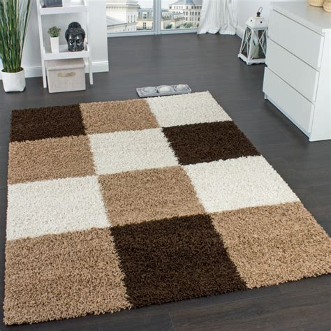 shaggy carpet high pile pile chequered in brown beige - Teppich Rund Braun Beige