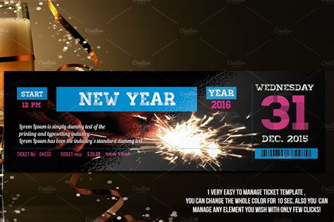 New Year Ticket Invitation Templates Creative Market New Years Ticket Template