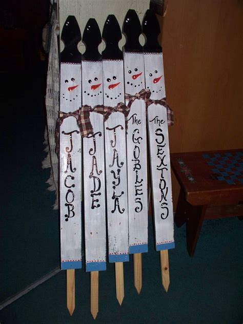 christmas staked fences 42 quot rustic snowman yard stake made from fence picket overall height including stake