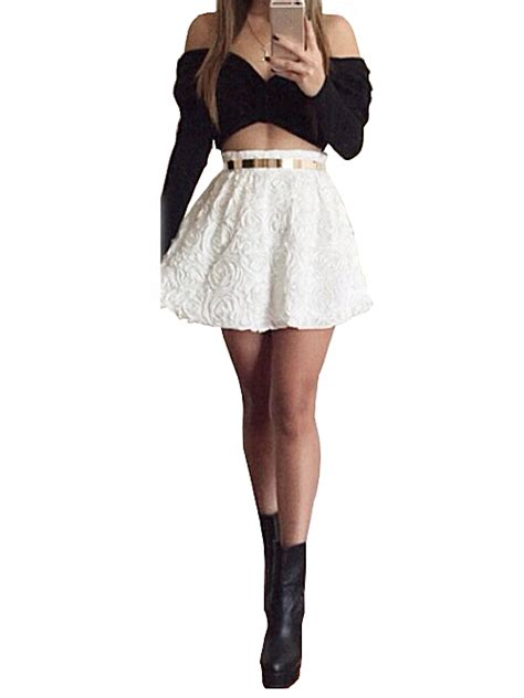 Gray Leaves Set S M L Top Skirt 30352 nextshe fashion two pieces set solid white roses mini skirt with black shoulder crop