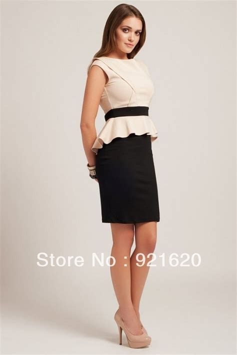 I New Peplum Desire In White free shipping 2013 new collections black and white ruffles peplum dress km255 in dresses