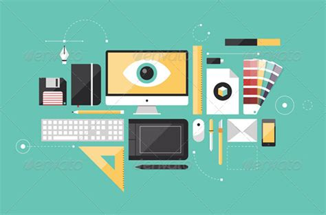 visual communication design technical drawing graphic designer workplace flat illustration graphicriver