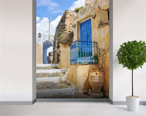 Wall Murals Greece House With Blue Door Pyrgos Wallpaper Wall