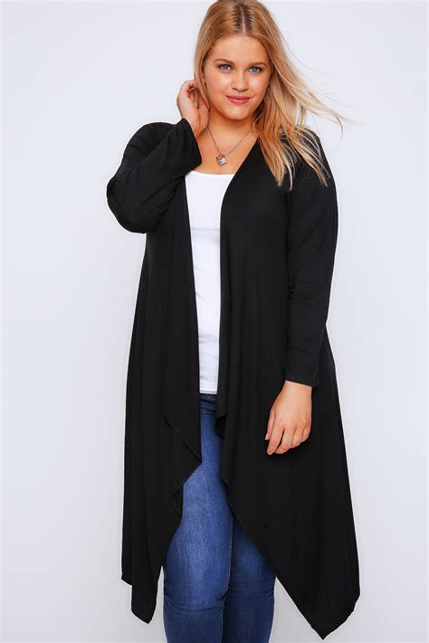 Cardigan Jersey black draped front waterfall jersey cardigan plus size 16