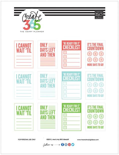 mambi planner free printable countdown free printables for the happy planner me