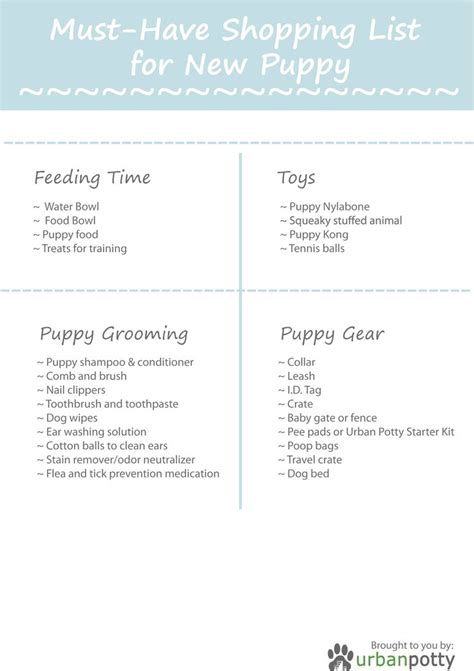 new puppy shopping checklist printable checklist by potty must shopping list for new puppy doggie