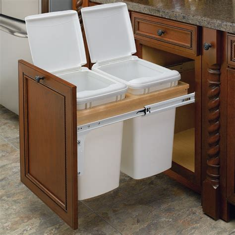 In Cabinet Trash Cans For The Kitchen by Rev A Shelf Double Trash Pullout 35 Quart Wood 4wctm