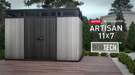 keter artisan  duotech large storage building sheds youtube