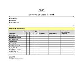 Project Management Lessons Learnt Template by Lessons Learned Template Peerpex