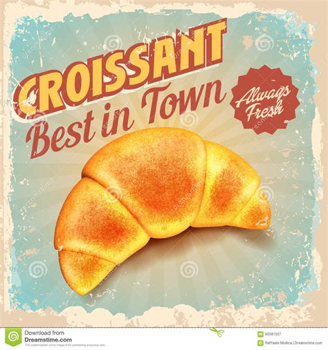 Croissant Vintage Stock Vector   Image: 60581507