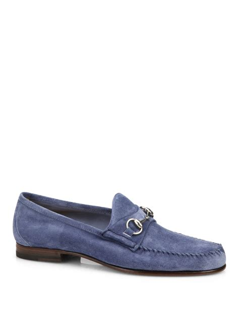 blue suede loafers for gucci suede horsebit loafers in blue for no color lyst