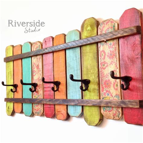 rustic home decor coat rack handmade reclaimed wood
