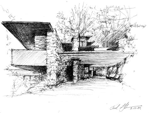 design concept of falling water falling water by frank lloyd wright sketched by frederick