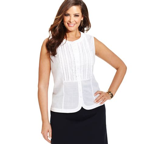 jones new york signature plus size sleeveless ruffled blouse in white lyst