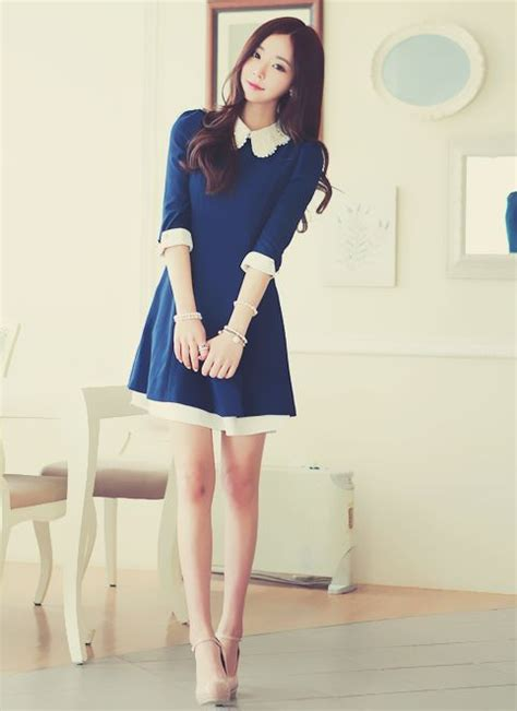 dress style korea brukat navy blue dress korean fashion aka kfashion korean