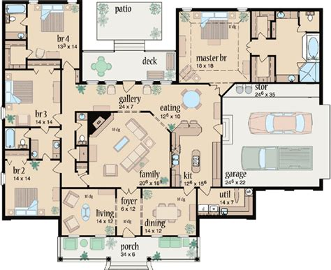 4 bedroom 2 bath floor plans country style house plans 3042 square foot home 1