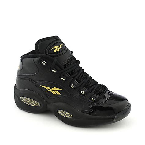 reebok question mid black and gold athletic basketball sneaker